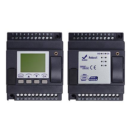 PLC med 8 DI, LCD skärm, 4 moduler, 4 transistorutgångar, 10-30VDC
