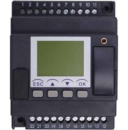PLC med 8 DI, LCD skärm, 4 moduler, 4 reläutgångar, 10-30VDC