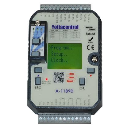 PLC med 8 in/4 ut, LCD skärm, reläutgångar
