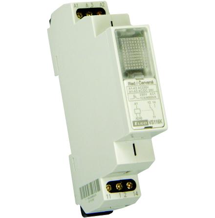 Relä VS116K, 230/24V, gul, 1 växl kontakt 16A, 1 modul