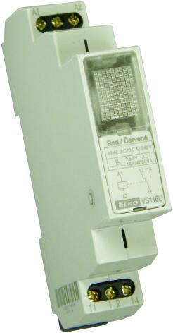 Relä 12-240VAC/DC, röd lampa, växlande kontakt 16A, 1 modul