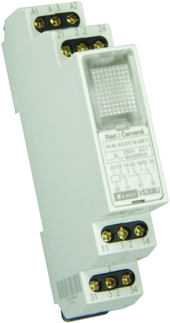 Relä 12-240VAC/DC, röd lampa, 3 växlande kontakter 8A, 1 modul