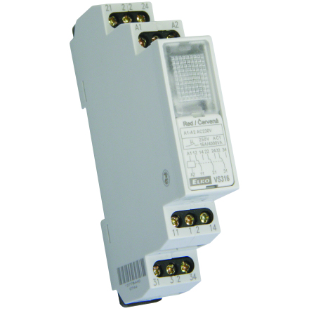 Relä 230VAC, röd lampa, 3 växlande kontakter 16A, 1 modul