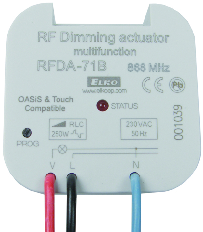 RFDA-11B, dimmer ställdon, 1 funktion, R-L-C 250 VA, manöver