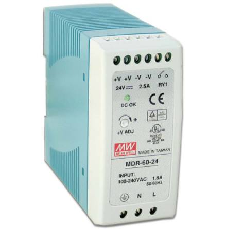 Spänningsaggregat switchat, 230VAC/24VDC, 60 W, 2,5 A