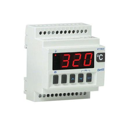 Termostat, 6 typer av givare, DIN-montage, 1 utgång 8A, 230VAC