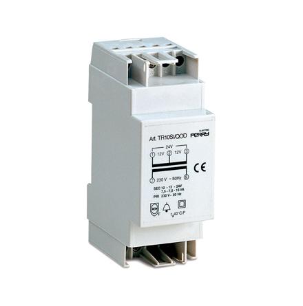 Ringledningstrafo DIN-montage, 10VA, 230/4-8-12VAC, 2 moduler