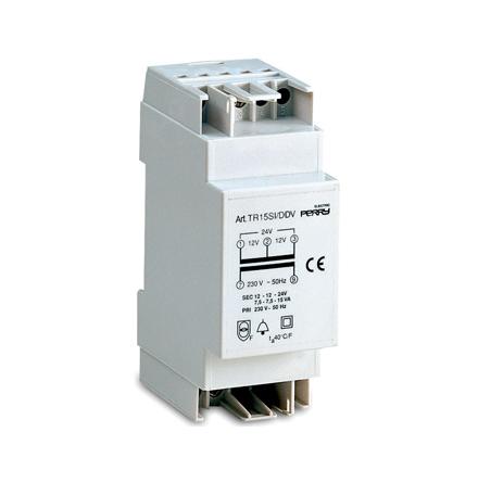 Ringledningstrafo DIN-montage, 15VA, 230/12-12-24VAC, 2 moduler