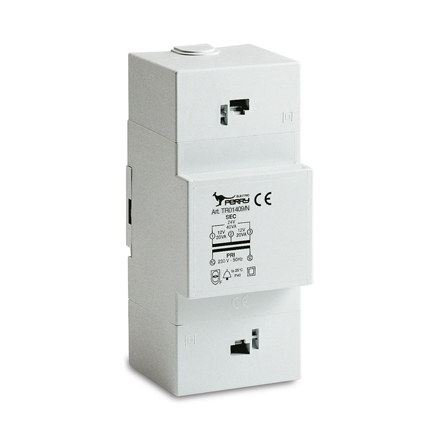 Trafo för DIN-montage, 40VA, 230/12-24VAC, 3 moduler