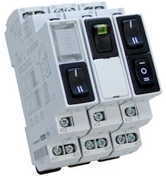 Vippbrytare 0-1, 6A, 250VAC, 1-polig, gul LED