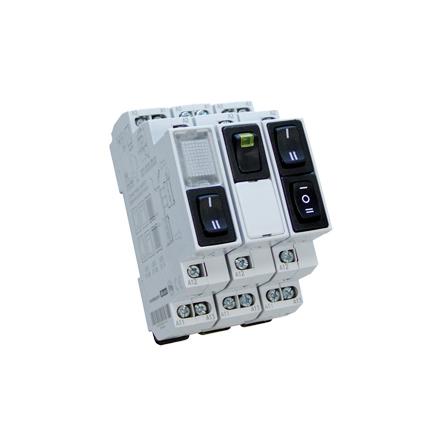 Vippbrytare 1-0-2, återfjädrande från 1 o 2 till 0, 6A, 230V