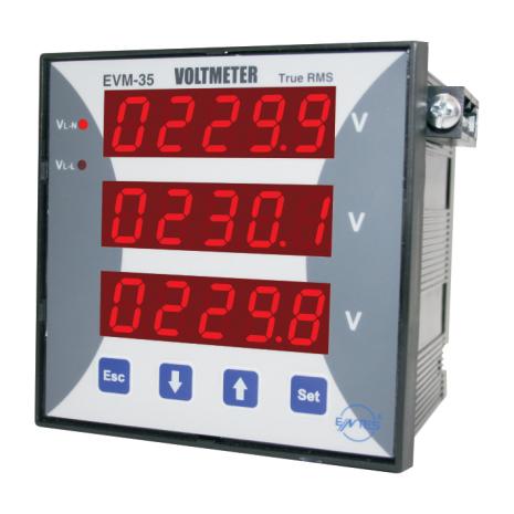 Voltmeter 3-fas, 96x96mm, 0-40kV