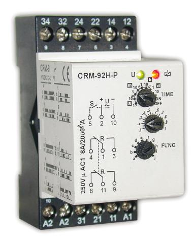 Tidrelä CRM-92H-P multifunktion, plug-in, 12-240VAC/DC