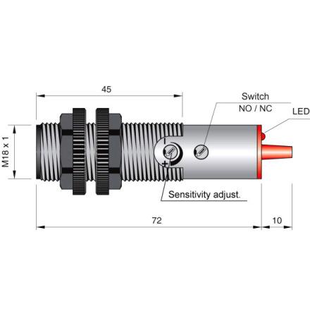 Fotocell mot reflektor, 250cm, NO/NC, 20-250VAC infraröd, 3-ledare