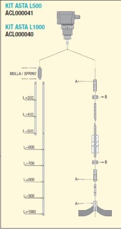 Kit asta L500 X RL-A  L=500 mm