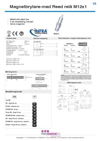 Magnetbrytare M12, 100 mm, 3A, NO/NC, 2m kabel