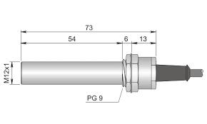 Magnetbrytare M10, slät, PG9 , 2m kabel