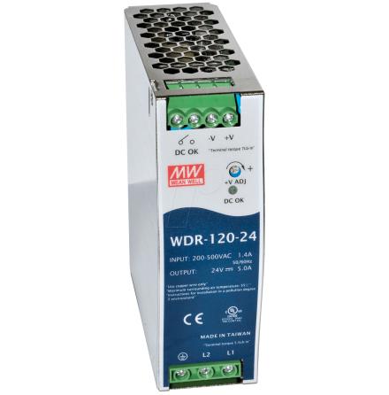 Spänningsaggregat 2-fas, 5A, switchat, 180-550VAC/24VDC