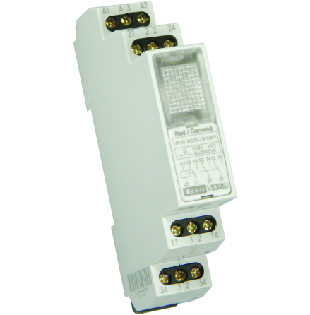 Paket 5 st relä 12-240VAC/DC, röd lampa, 3 växlande kontakter 8A, 1 modul