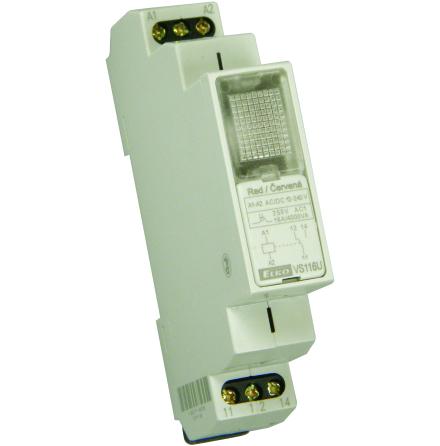 Relä 12-240VAC/DC, röd lampa, växlande kontakt 16A, 1 modul 5 st