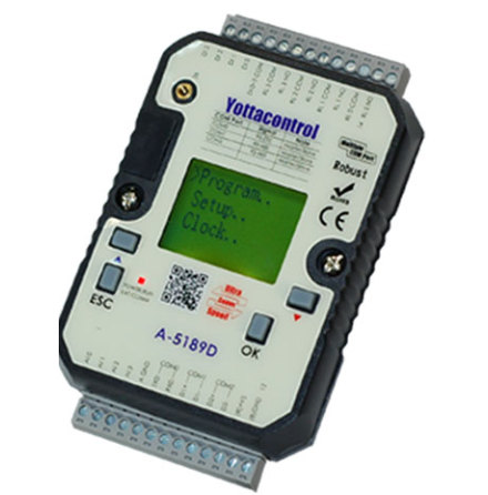 PLC med 2DI 2AI 2PT-100 2DO 2AO TRANSISTOR, LCD displ, 10-30