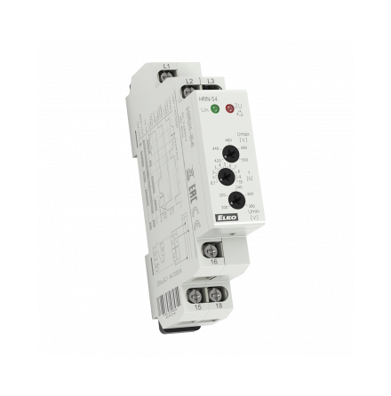 Kontrollrelä HRN-54 över/underspänn.3-fas,3x400V, fasföljd