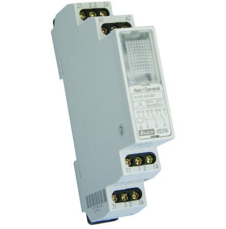 Relä VS316K 24V röd lampa, 3 växlande kontakter 16A, 1 modul