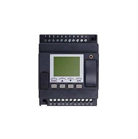 PLC med 8 DI, LCD skärm, 4 moduler 4 reläutgångar 230VAC