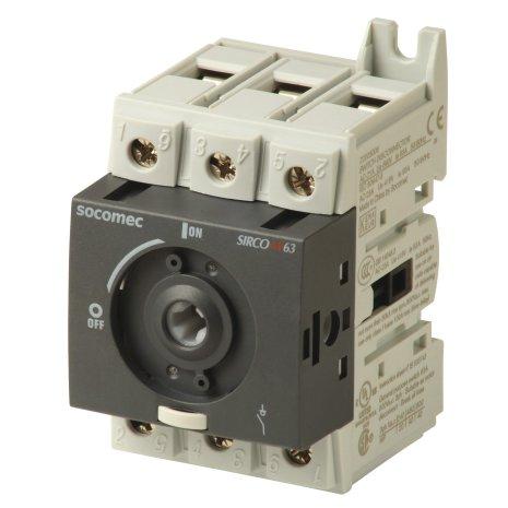 Lastbrytare 3x63A, DIN-skene montage
