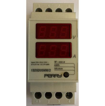 Energimätare 1-fas, multifunktion, 2 moduler, reläutgång, 230VAC
