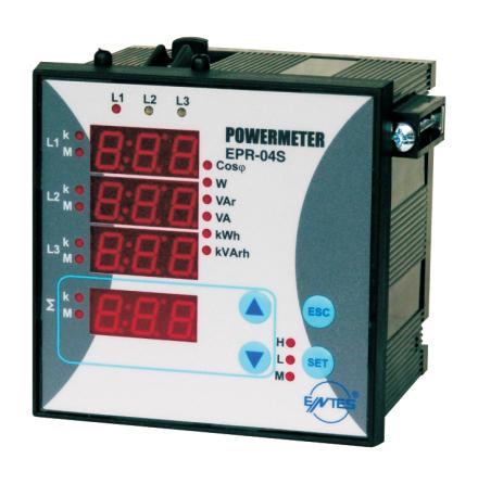 Energimätare kWh, kVArh, Cos fi, WA, VArR, pulsutgång