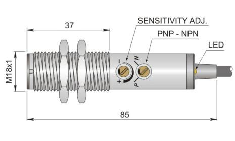 Fotocell mot reflektor, 5m, PNP/NPN, NO+NC, infraröd