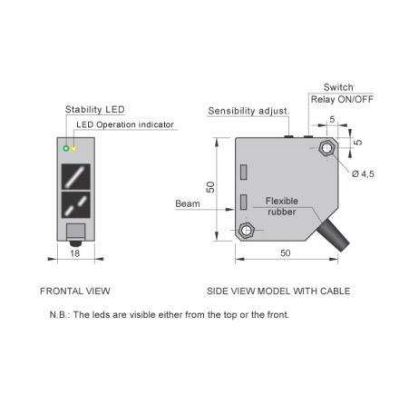Fotocell mot reflektor, 3m, 1-polig växlande reläutgång, polariserad, 1A