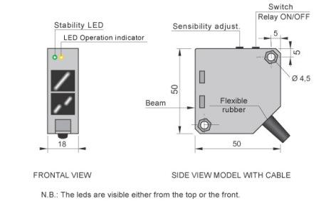 Fotocell mot reflektor, 5m, 1-polig växlande reläutgång 1A