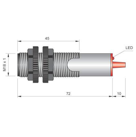 Fotocell sändare, M18x1, 15m, NO+NC, 20-250VAC