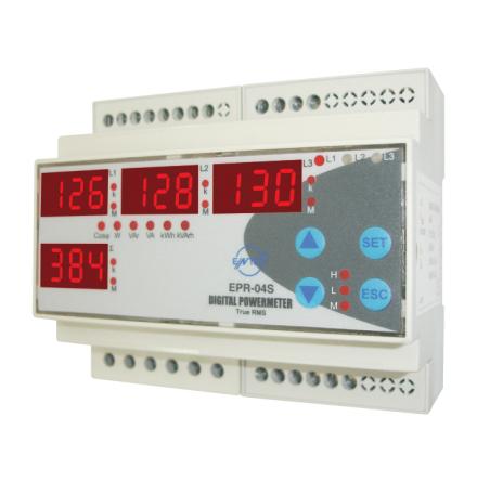 Energimätare 3-fas, kWh, kVArh, Cos fi, W, VArR, pulsutgång
