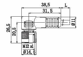 Kabel med M12 kontakt, 3-ledare, 5m, 90 gr vinkel