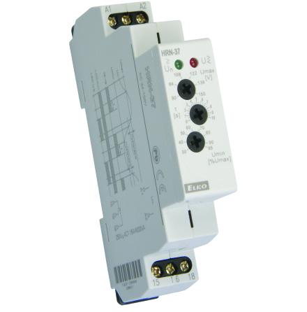 Kontrollrelä, över/underspänning, 1-fas, 24-150VAC, 0-10s, relä 16A