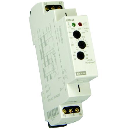 Kontrollrelä HRN-33, över/underspänning, 1-fas, 24-276VAC, 0-10s