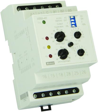 Kontrollrelä HRN-41 över/underspänn.1-fas.12,5- 500Vac/dc.