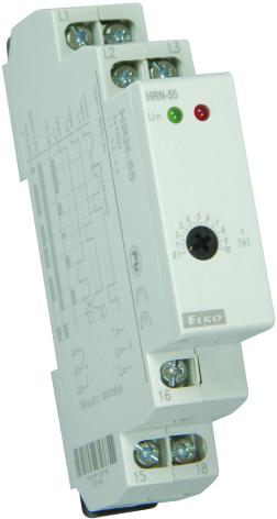 Kontrollrelä HRN-55, fasavbrott, fasföljd, 3-fas 400VAC