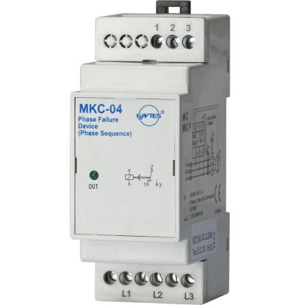 Kontrollrelä MKC-04, fasavbrott, fasföljd, 3-fas 400VAC, 2 moduler