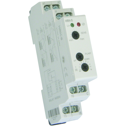 Kontrollrelä Nivå, 2 funktioner, fyll el töm, 1-10s, 24-230VAC/DC