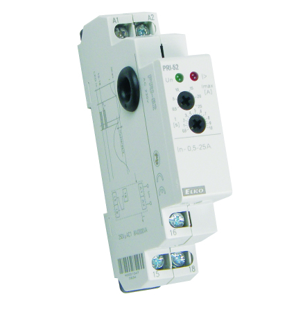 Kontrollrelä ström, 1 modul, reläutgång 8A, område 0,5-25A