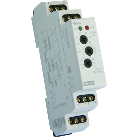 Kontrollrelä över/underspänning, 1-fas, 6-30VDC, 0-10s, relä 16A