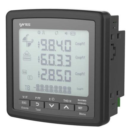 Nätverksanalysator, 3-fas, RS-485, LCD, AMP.-VOLT-kWH, RTC, THD, minne