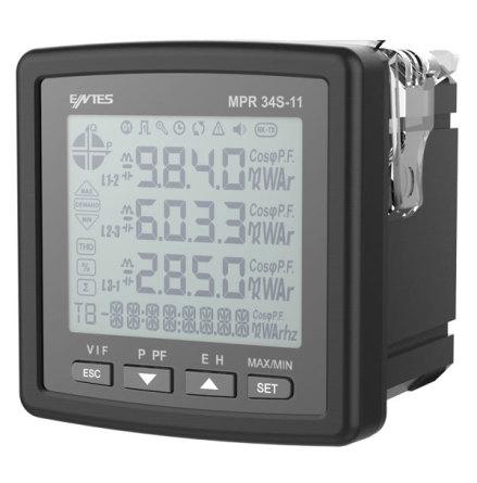 Nätverksanalysator, 3-fas, LCD, ström-spänning-kWH, 2 DO, THD