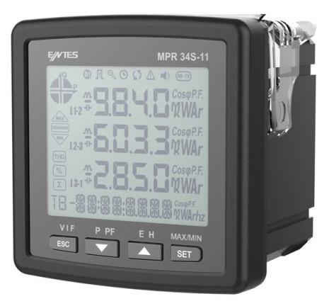 Nätverksanalysator, RS-485, 3-fas, LCD, ström-spänning-kWH, 2DI