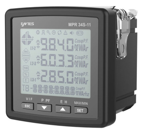 Nätverksanalysator 3-fas, LCD, ström-spänning-kWH 72x72